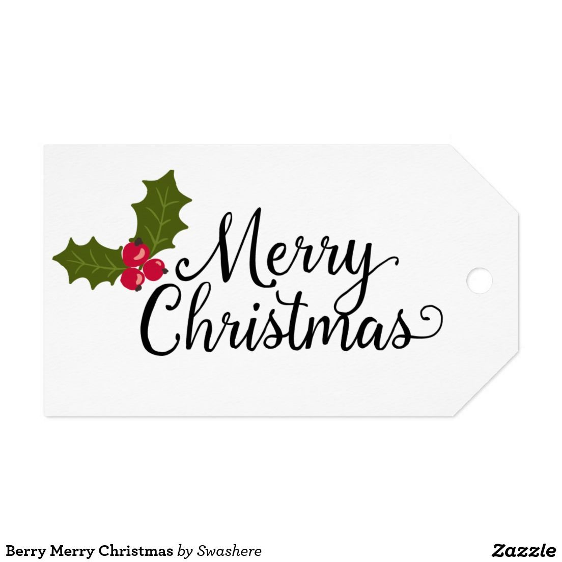 Berry merry christmas gift tags cute berries and leaves