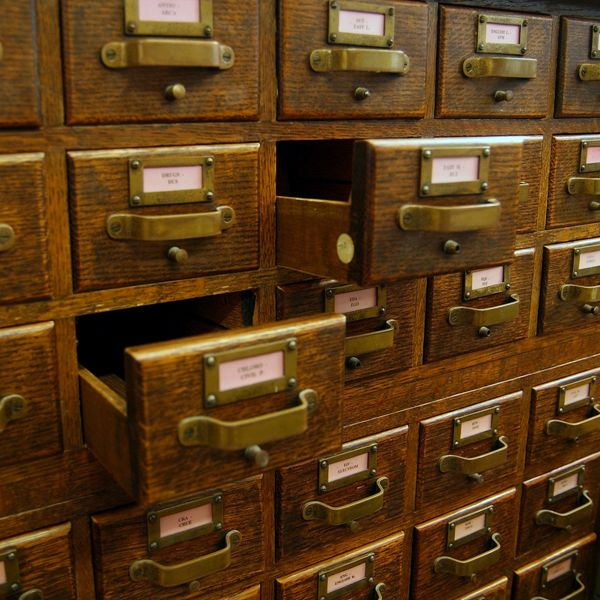 Vintage Library Drawers