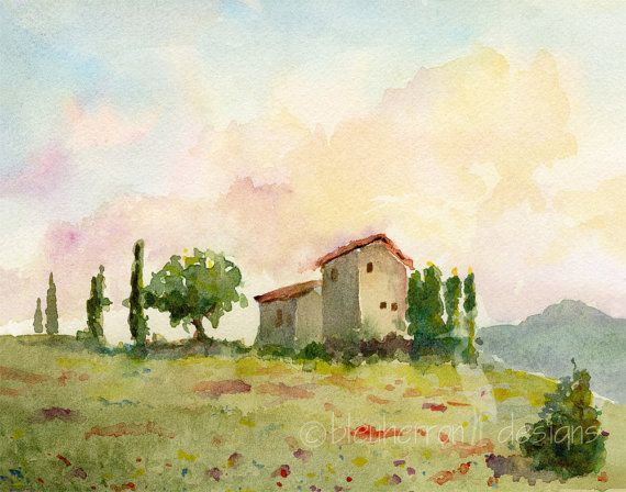 Italian Landscape Tuscan Spring 11x14 Watercolor By Bleuherron