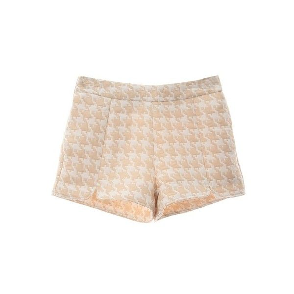 Choies Cream Houndstooth Print Split Shorts ($40) ❤ liked on Polyvore featuring shorts, choies, pants, cream shorts and houndstooth shorts