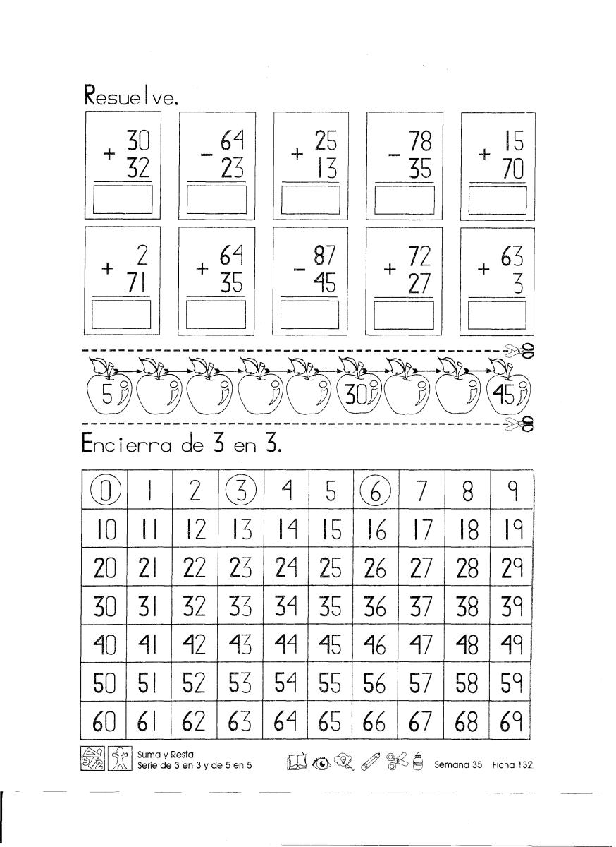 Suma y resta serie de 3 en 3 y de 5 en 5 1er Grado … | Education ...