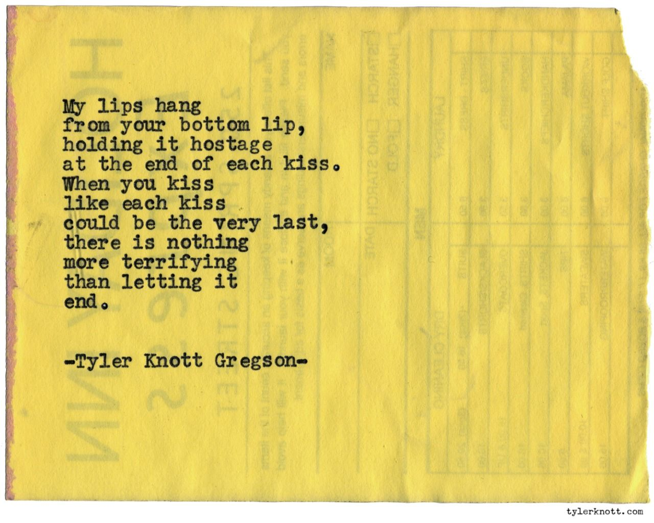 Typewriter Series 1043 By Tyler Knott Gregson Chasers Of The
