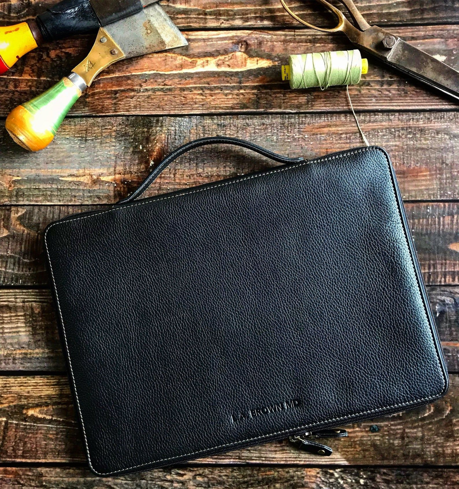 Leather Laptop Case Snug Fit, Leather MacBook Case with