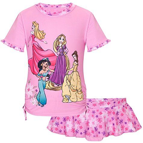 28cf60a6a6 Disney Store Disney Princess Pink 2-Piece Rashguard Swimsuit for Girls Size  Small 5 6 (Princesses Rapunzel