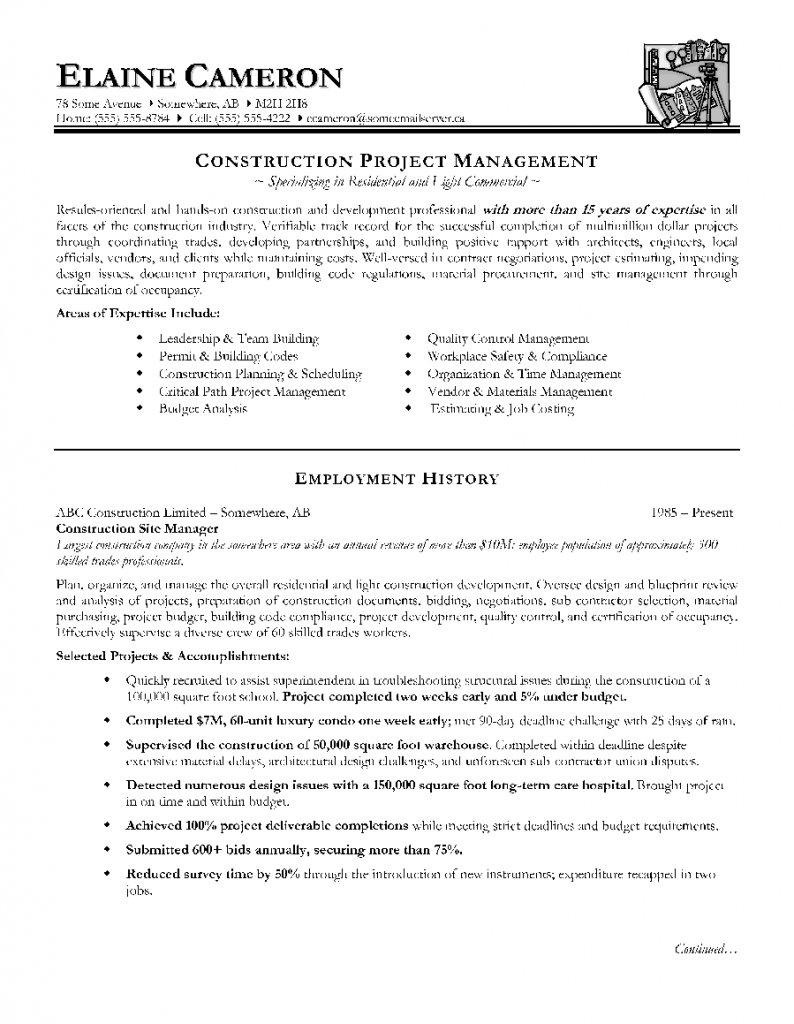 Construction Project Manager Resume Resume Samples Project