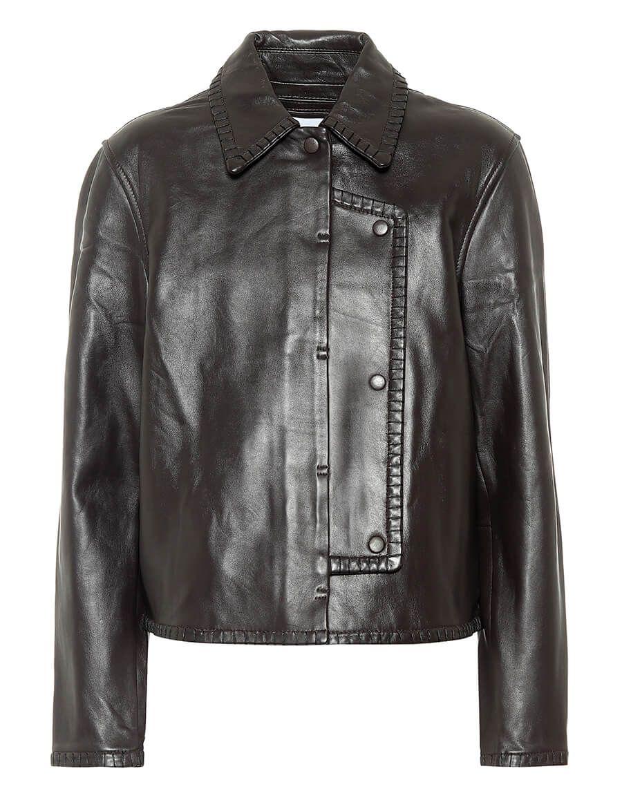 Ganni Cropped Leather Jacket Vergle Cropped Leather Jacket Leather Jacket Jackets [ 1155 x 900 Pixel ]