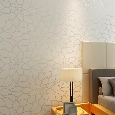10m Modern Non Woven Flocking Embossed Wallpaper Living Room Background Lotus Flower Wall Paper Papel De