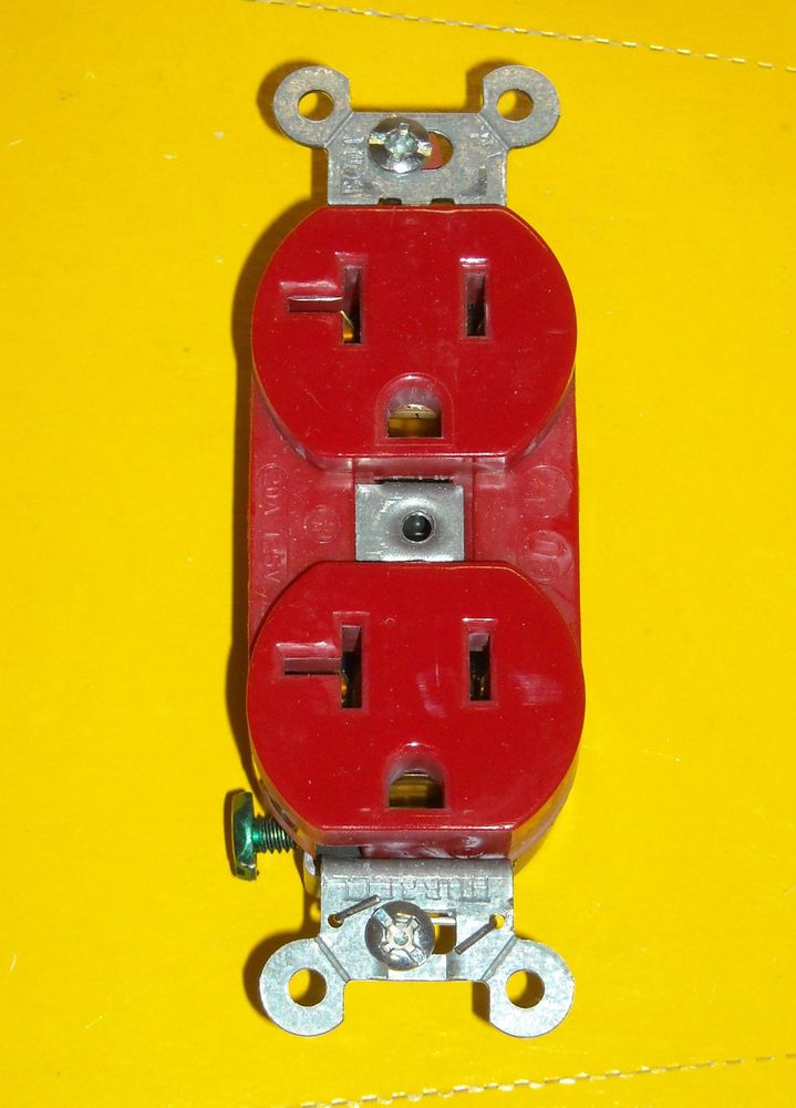 20 New Hubbell Plug 5352ar Pro Deluxe Duplex Receptacle Red 20a 125v