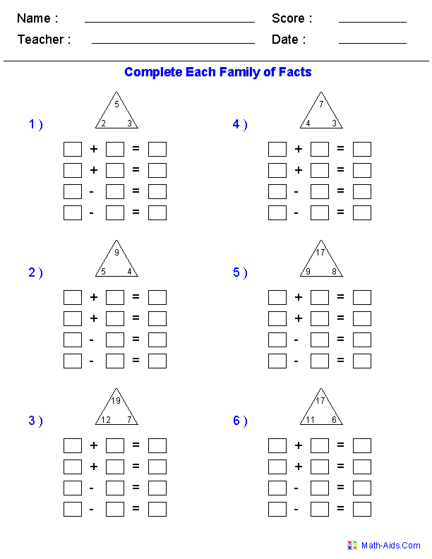 Addition and Subtraction Fact Family Worksheets | Math- Basic ...