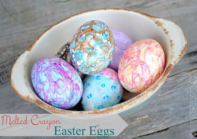 Create colorful EASTER EGGS using Melted Crayons.  It's easy to do -- crayons will melt while drawing on the warm eggs