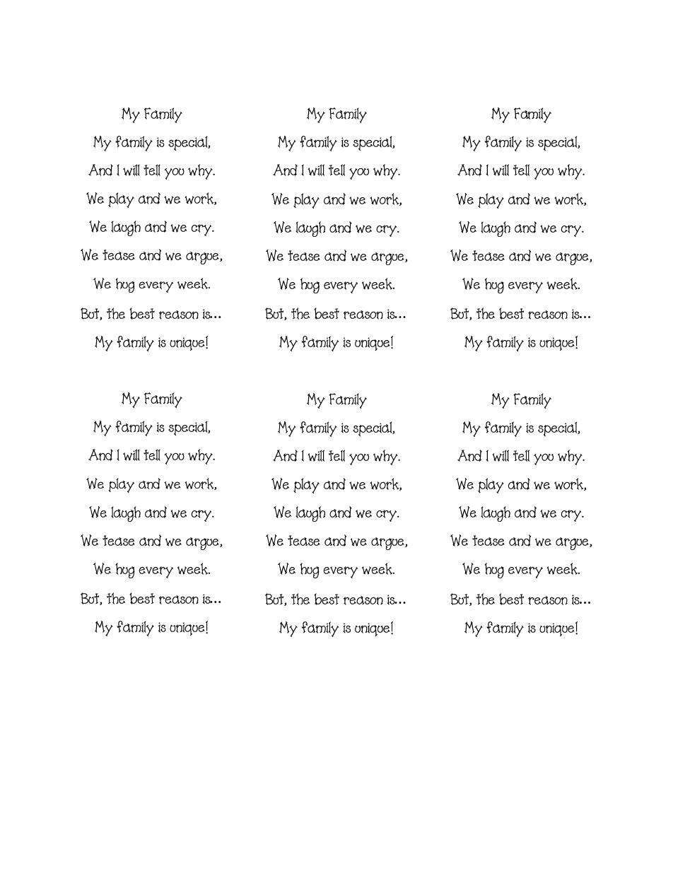 My Family Poem1pdf Family Poems Preschool Family Theme