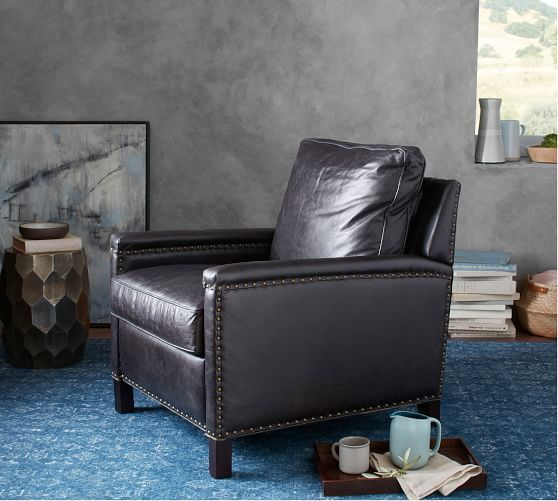 Tyler Leather Square Arm Recliner With Nailheads   Leather