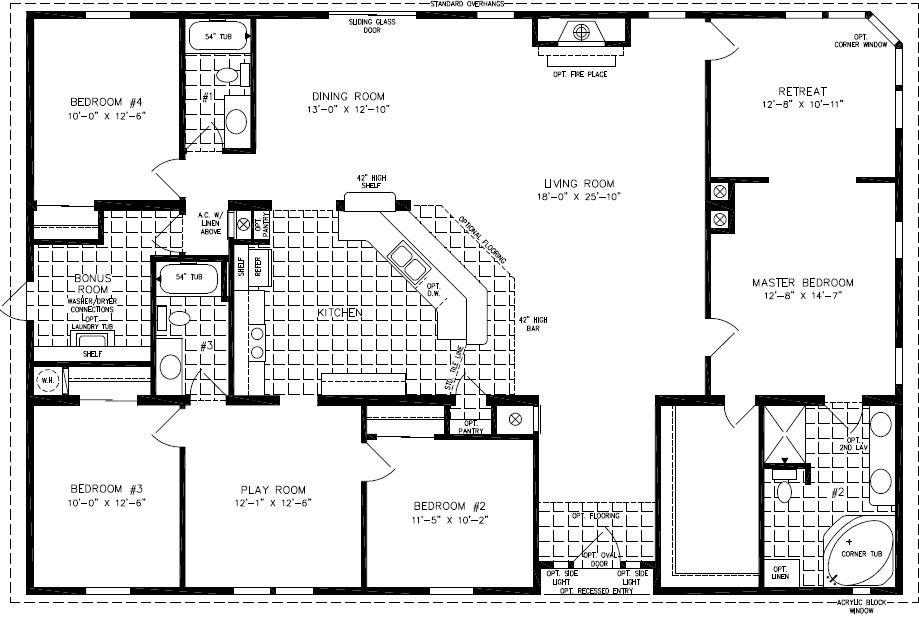 Double wide floor plans 4 bedroom 3 bath 4 bedroom 2 1 for 5 bedroom 3 bath mobile home