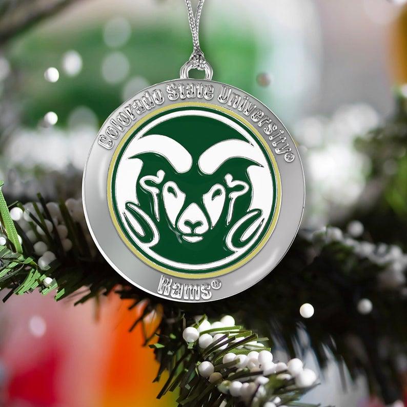 Colorado State University Rams Csu Christmas Ornament Round Etsy Christmas Ornaments Colorado State University Metal Ornament
