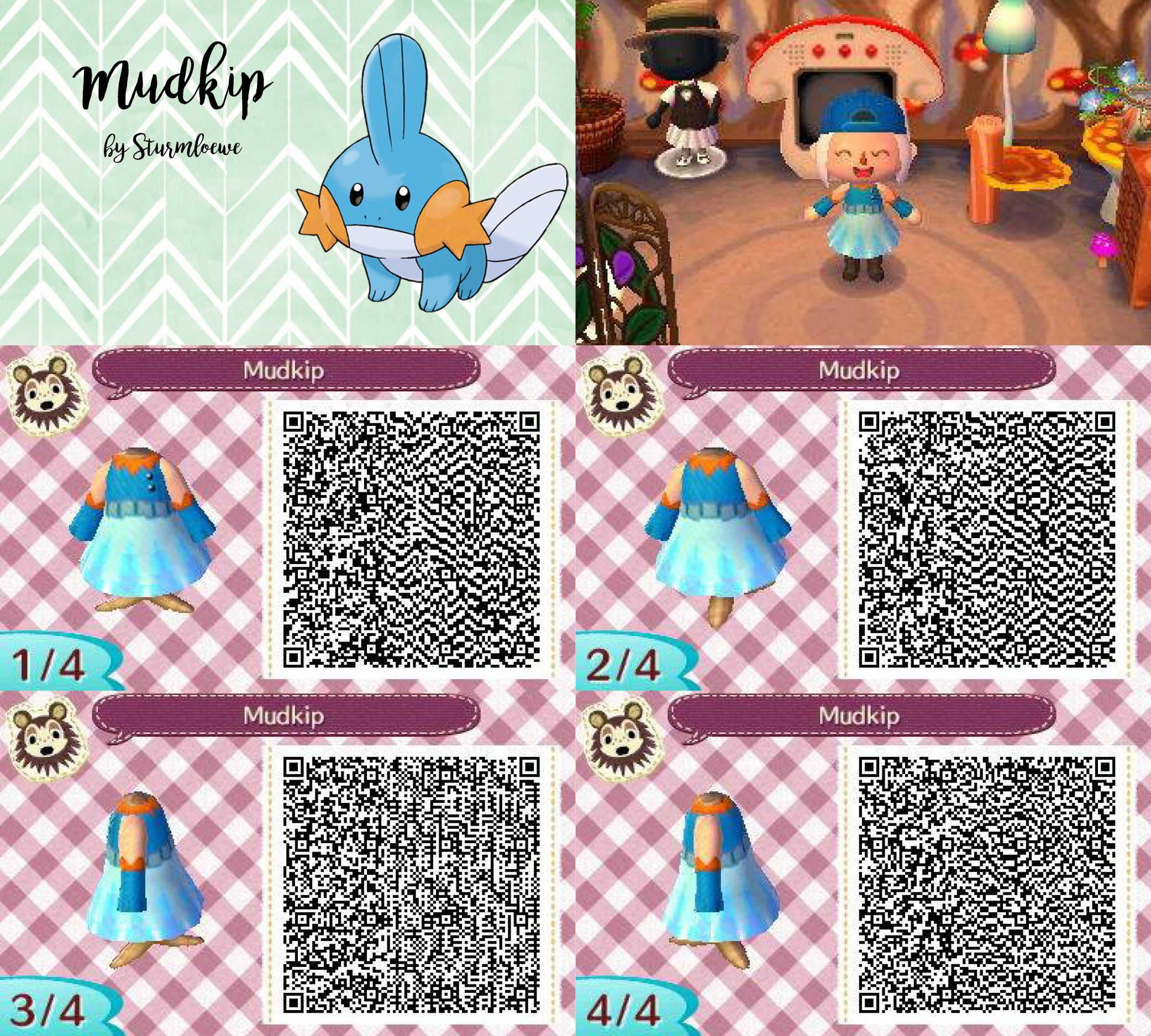 Preferenza Animal Crossing New Leaf qr code cute mudkip hydropi dress outfit  RF81