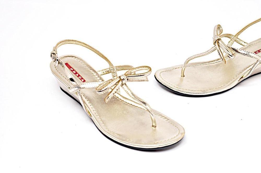 a365ac6b253 PRADA Platinum Leather Thong Wedge Slingback Sandals with Bow Sz 37 with  Box  PRADA  SlingbackSandals  Casual