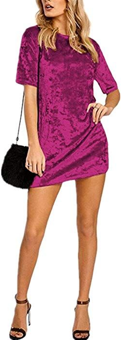 HIKARE Women s Vintage Short Sleeve Casual Mini T Shirt Velvet Dress Wine  Red Size M at 1524530a1