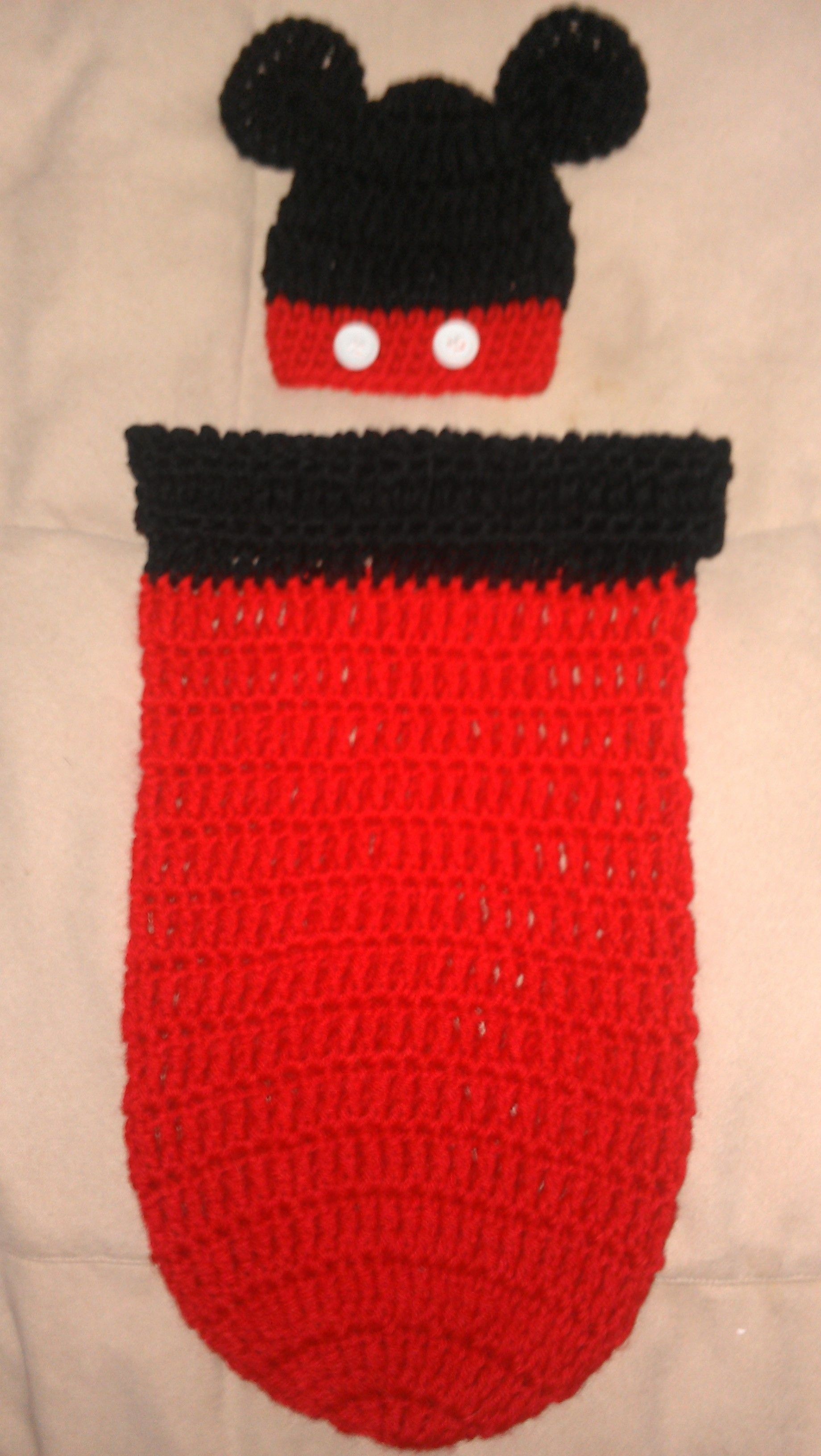 Cottage snuggle sack and hat crochet baby baby cocoon and sacks - Crochet Mickey Mouse Cocoon And Hat Set I Think If I Were To Make This I Would Make The Hat All Black And The Cocoon All Red With The Two White Buttons Near