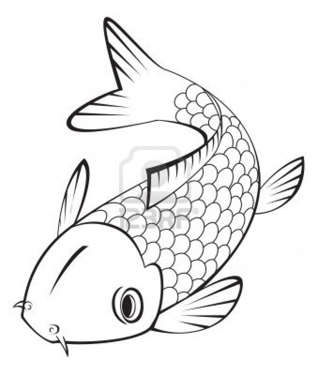 Simple Fish Line Art : Download koi fish coloring pages water lilies