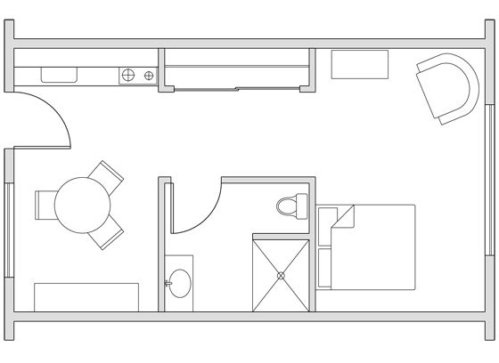 Gallery For Ft Studio Apartment Floor Plans Apts