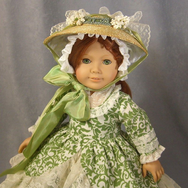 Colonial Christmas Charm by idreamofjeannemarie. Gown, straw hat, mob cap, fichu, hoop cage and petticoat.