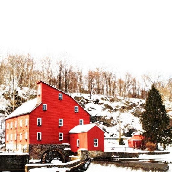 The Red Mill Snow On Nursery Decor White Christmas First Nature Winter Old Farm House Beauty Fine Art Print 12x12