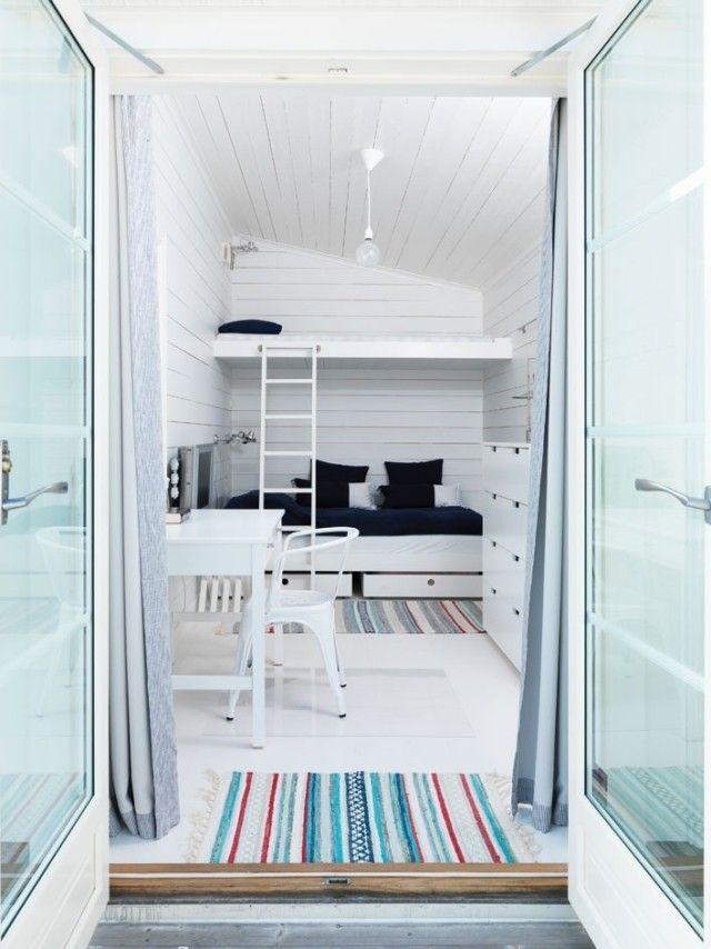 hochbetten erwachsene sparen platz weiße wände boden Bedroom - hochbetten erwachsene kleine wohnung