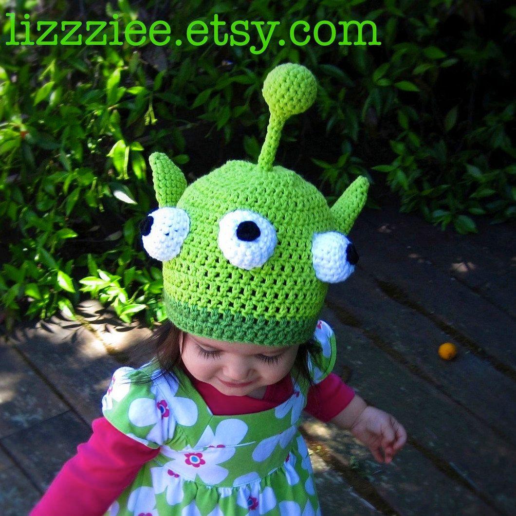 Little Green Monster Hat Crochet Pattern PDF - fun hat includes ...