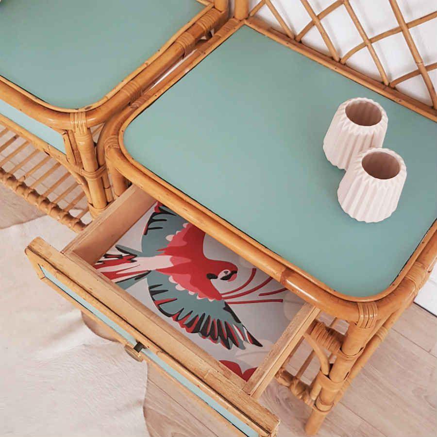 Table Nuit Chevet En Rotin Annees 60 Retro Scandinave Vert Celadon Papier Peint Perroquet Peindre Rotin Mobilier De Salon Decoration D Armoire De Cuisine