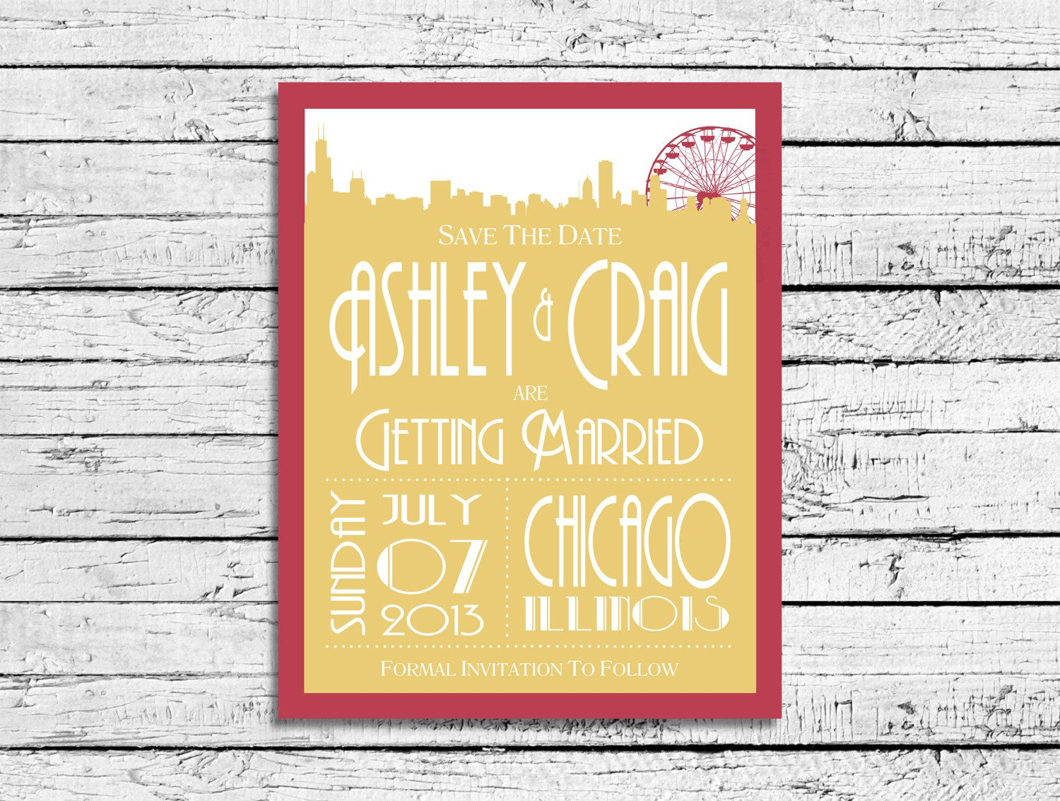 Save The Dates - Chicago Skyline with Ferris Wheel