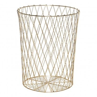 Hubsch Paper Basket Gold Kids Bedroom Decor Corbeille Papier Corbeille Chambre Decoration