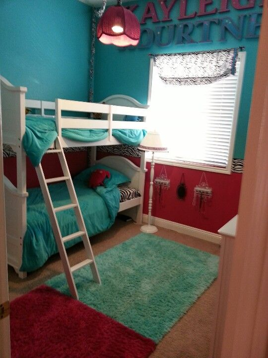 Bunk beds! Zebra, hot pink, & light aqua (almost Tiffany) blue. TWIN GIRLS kids room! Monster High Ugly Dolls! :)