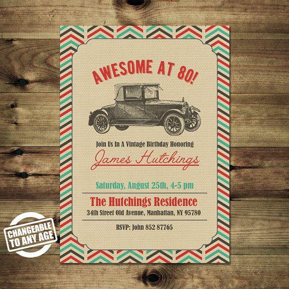 Vintage Car 80th Birthday Invitation Adult By Papiermignonid
