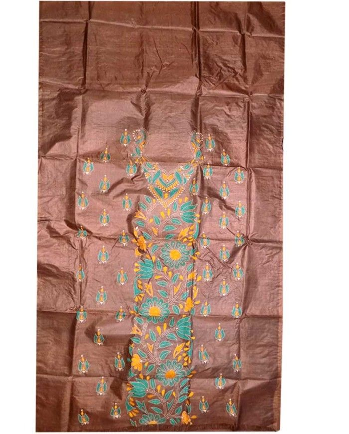 Coffee Tussar Silk Suit Piece 4 | Tussar Silk Suit Piece ...