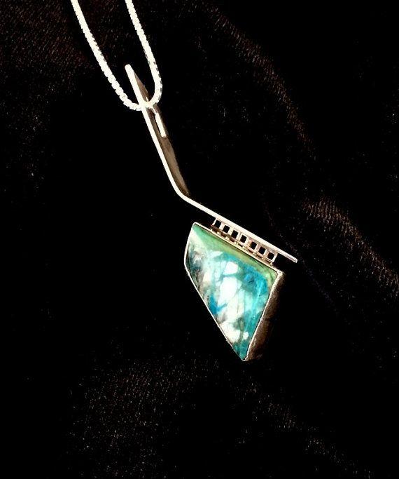 Handmade Sterling Chrysocolla  Gem Silica Pendant by maestarr
