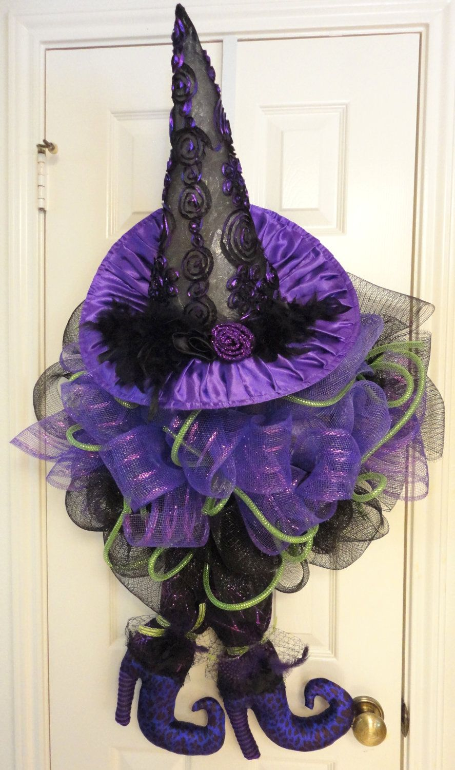 Witch Hat/Shoes Halloween Wreath. $100.00, via Etsy.  So cute - I need this for next year!