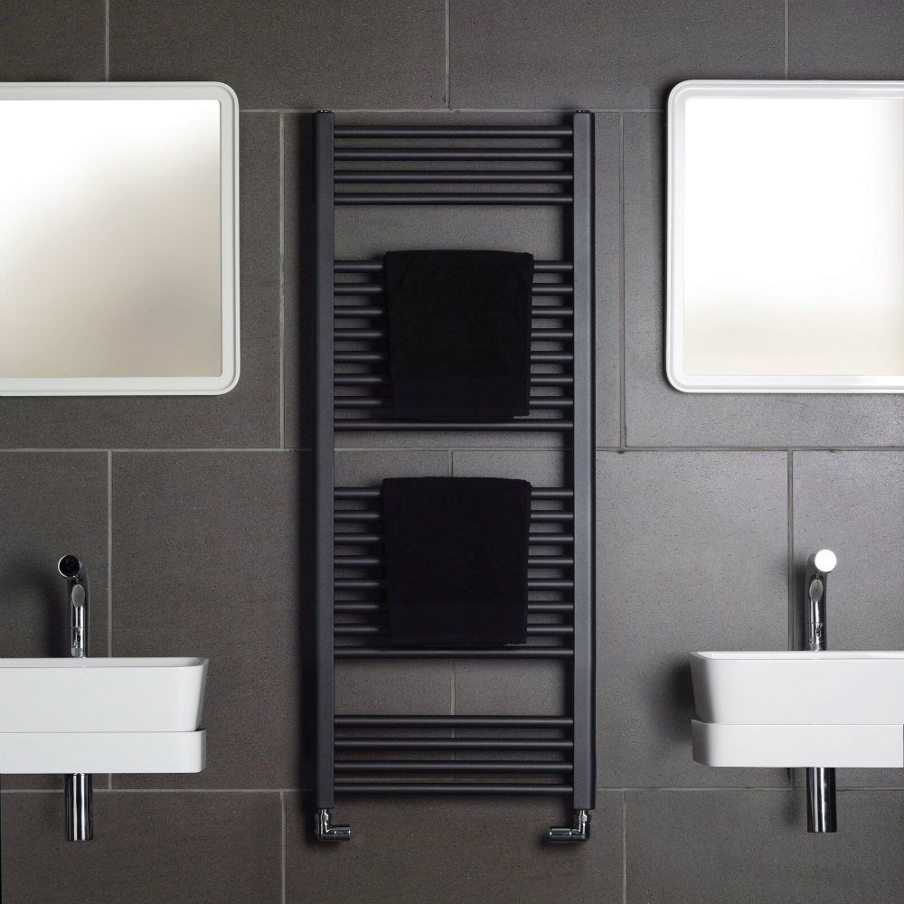 Bisque Electric Deline Towel Radiator Non Adjustable Thermostat White Finish 1226mm X 600mm