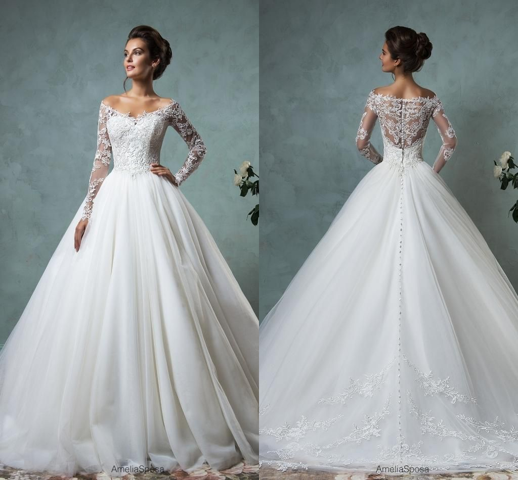 Amelia sposa wedding dresses with long sleeves off shoulder