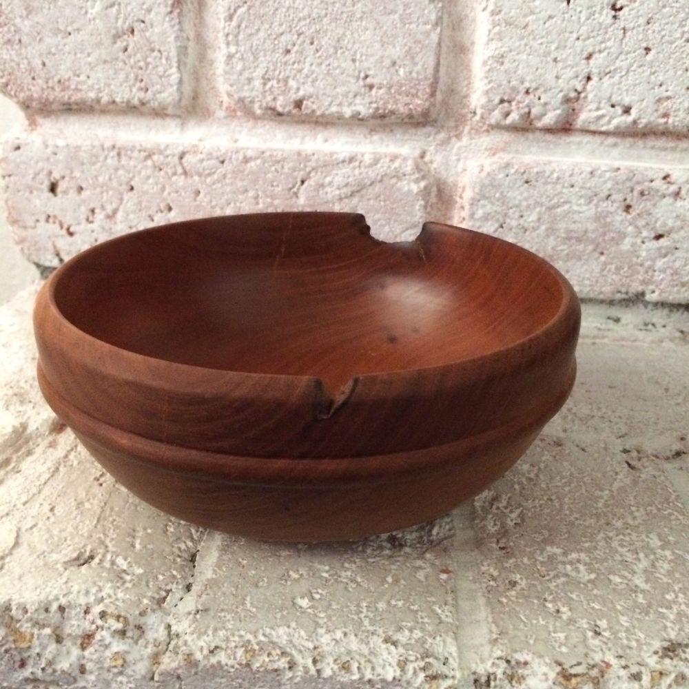 Turned wood bowl small mahogany signed wooden bowl decorative bowl