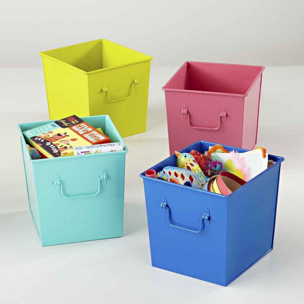 Kids Storage Colorful Iron Storage Bins The Land Of Nod Kids