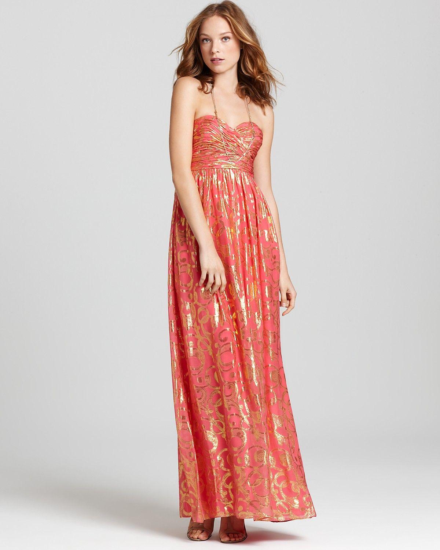 Aqua Gown Strapless Foil Women Dresses Bloomingdale S Bloomingdale Dresses Gold Prom Dresses Gowns [ 1500 x 1200 Pixel ]