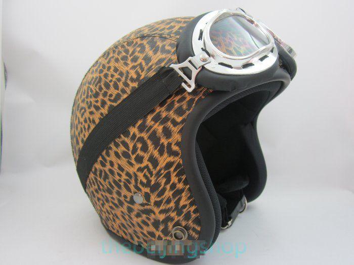 Leopard Vintage Open Face Jet Motorcycle Helmet (BK Rim)