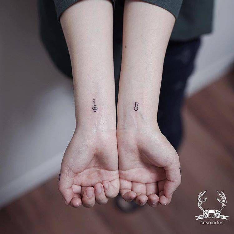 Small Key Tattoo: Matching Key And Keyhole Tattoos On The Wrist.