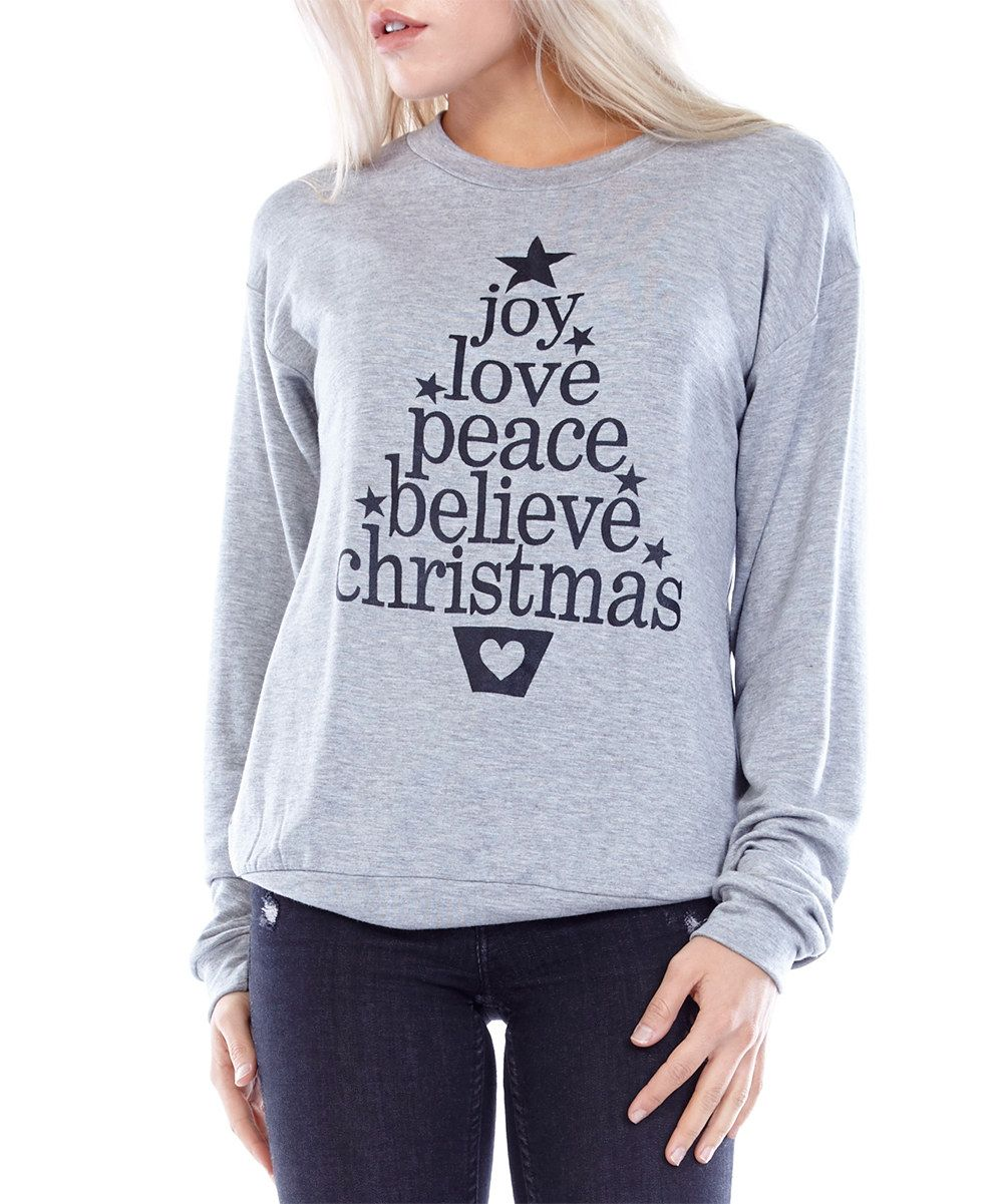 Look at this JC Fits Heather Gray 'Joy, Love, Peace' Christmas Tree Pullover on #zulily today!