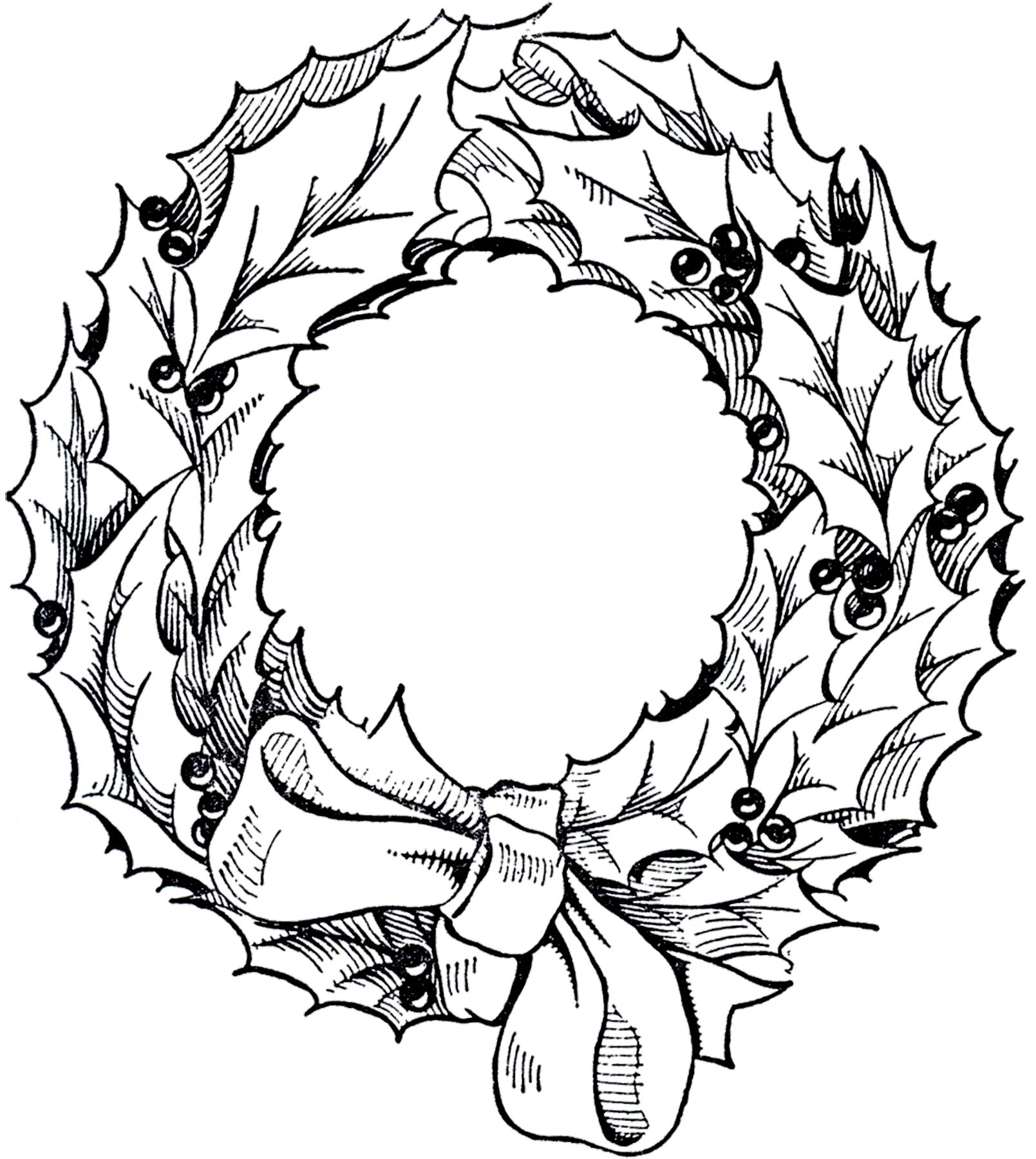 Vintage Christmas Wreath Graphic Christmas wreath