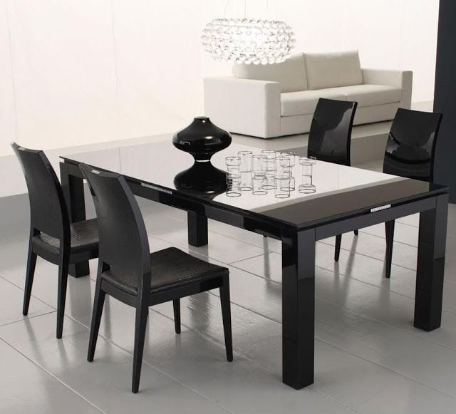 Black Dining Table Set Round Glass Wood