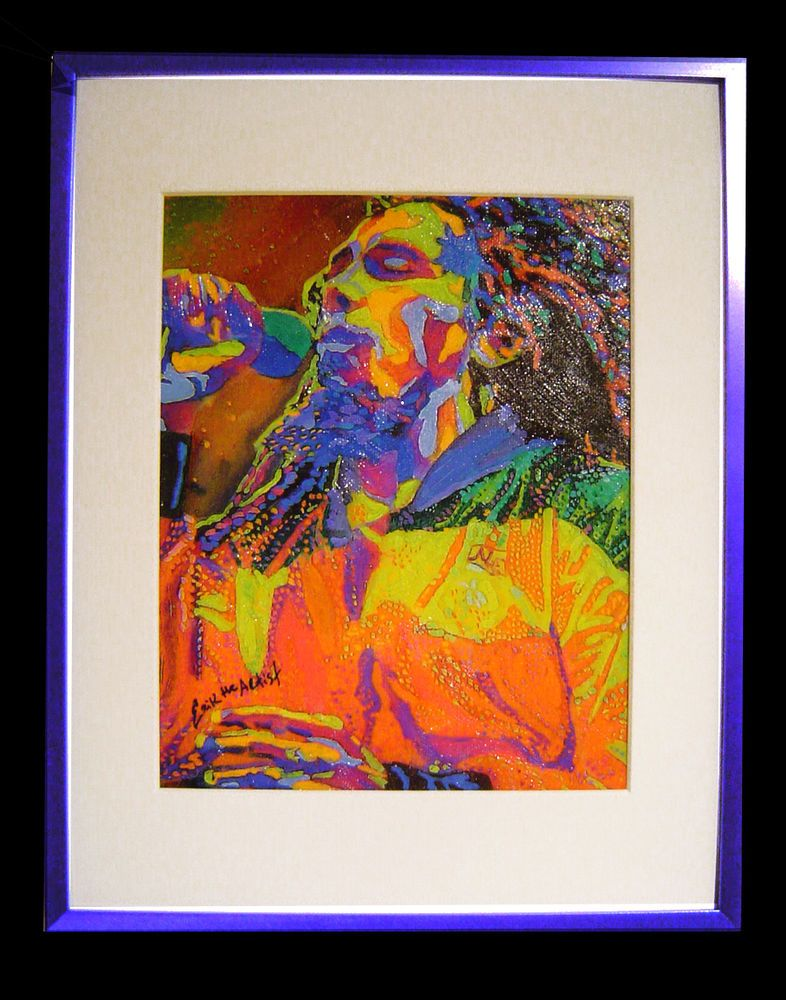 Bob Marley Painting Hand Embellished + Hand Textured Ink/Canvas ...