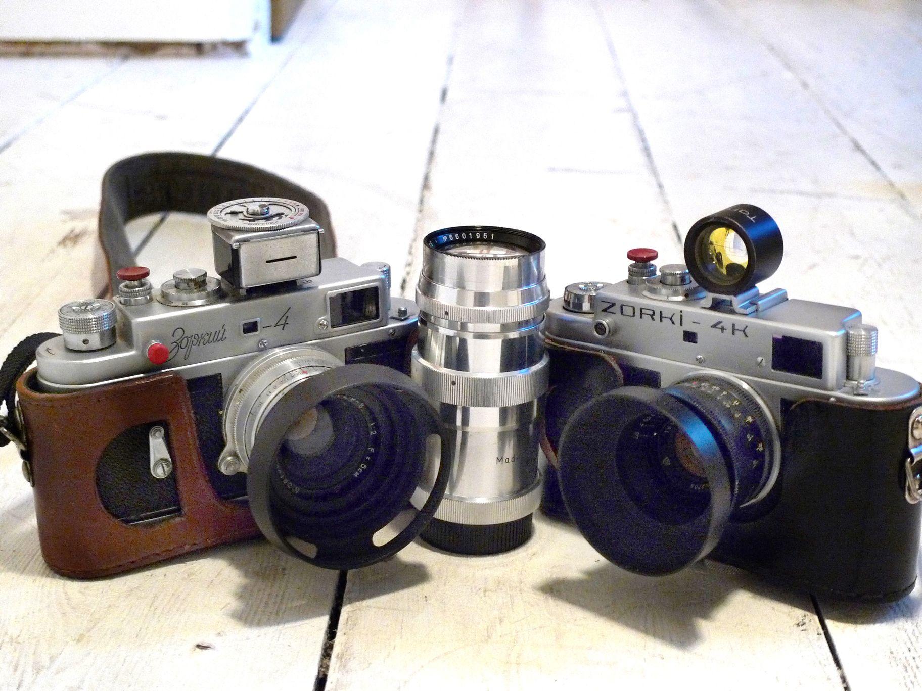 Zorki 4 and 4K with Jupiter 8 lens, Jupite 12 lens and