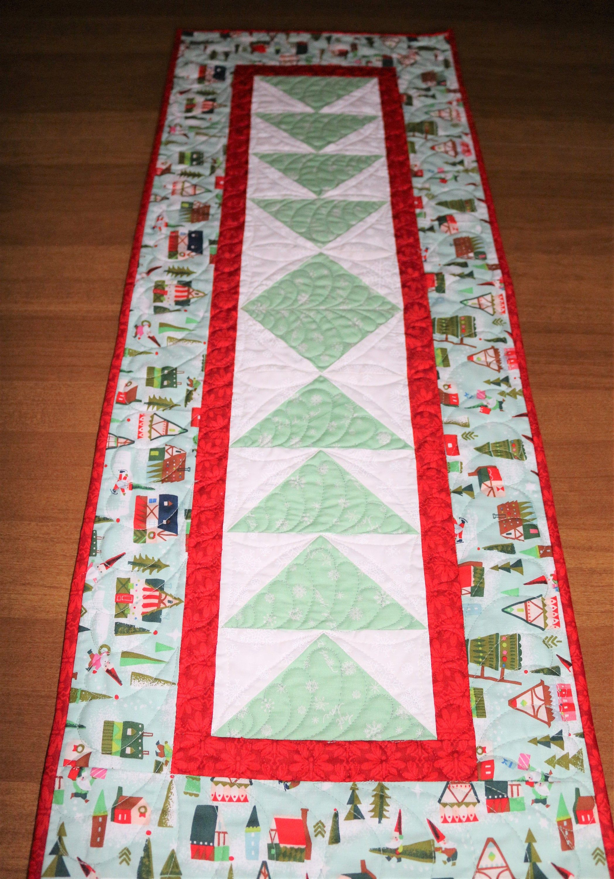 Christmas Whimsical Quilted Table Runner Modern Christmas Table Runner Mint Green Red Holiday Table Christmas Table Runner Quilted Table Runner Table Quilts