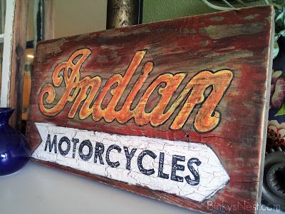 Indian Motorcycle Walnut Wood Sign Plaque  Home Made